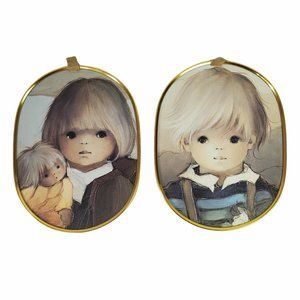 Blonde Boy and Girl with Doll Vintage Oval Picture